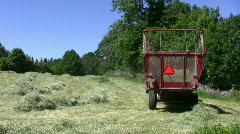 Hay harvest with a wagon Stock Footage