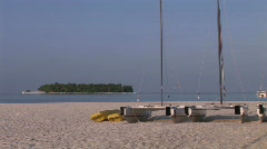 Beach with catamaran boats   Stock Footage