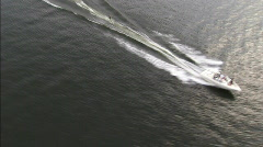 Waterskier-aerial shot Stock Footage