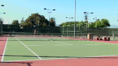 Tennis match full court Stock Footage