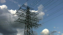 Stock Video Footage of Electrical pylon. Timelapse clouds.