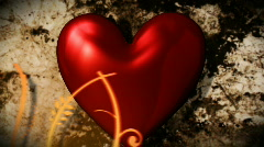 Red heart with floral ornate Stock Footage