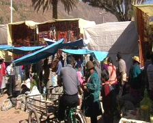 Sunday market in Pisac  - stock footage