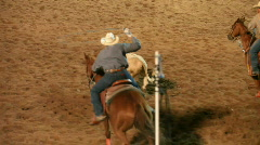 Team roping rodeo winner P HD 1114 Stock Footage