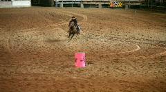Rodeo woman barrel racing slow P HD 1137 Stock Footage