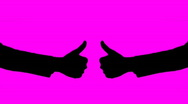 Two thumbs up silhouette - pink Stock Footage