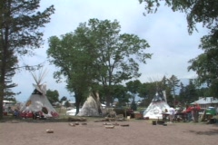 Tipis in City Park Stock Footage
