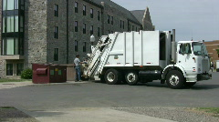 Garbage truck dumping a large can - stock footage