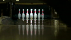 Bowling - knocking down 9 pins - HD Stock Footage