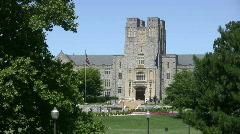Virginia Tech Burruss Hall from across drill field - stock footage