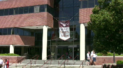 Virginia Tech student center with welcome banner - stock footage