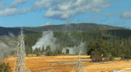 Yellowstone Geysers Steam and Boardwalk Stock Footage