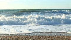 Beautiful waves around coast. Windy Stock Footage