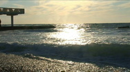 Stock Video Footage of Beautiful waves around coast in the night. Windy