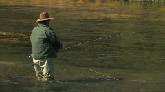 Fly Fisherman in River Stock Footage