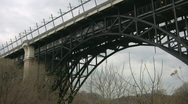 Big arched bridge with subway train. Stock Footage
