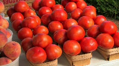 Freshly picked farm vegetables tomato peaches potatoes Stock Footage