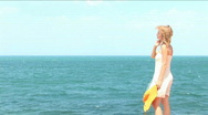 Beautiful girl admires the sea Stock Footage