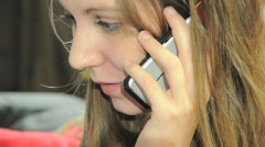 Close Up Girl Talking On Cell Phone 04 - stock footage