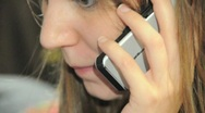 Close Up Girl Talking On Cell Phone 03 Stock Footage