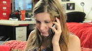 Close Up Girl Talking On Cell Phone 02 Stock Footage