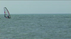 Sailboard in a sea bay. Stock Footage