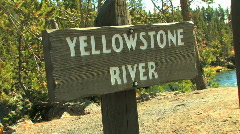 Yellowstone River Sign Zoom In - stock footage