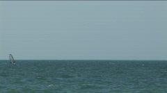 Sailboard in a sea bay. Stock Footage