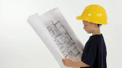 Little contractor smile Stock Footage