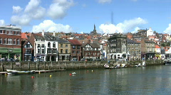 Boats at the quayside at the port of Whitby North  Yorkshire England Stock Footage