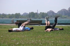 Workout by the lake.  Stock Footage