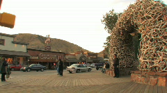 Jackson Hole Antler Arches Pan Stock Footage