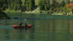 Raft on Quiet River Med Shot Stock Footage