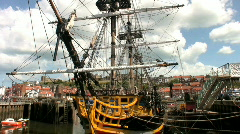 Tall ship the sailing frigate Grand Turk in Whitby harbor NorthYorkshire Stock Footage