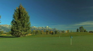 Golf Course with Grand Tetons in Background Stock Footage