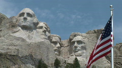 P00351 Mount Rushmore and American Flag Stock Footage