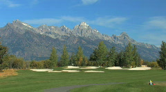 Sand Traps at Base of Grand Tetons Stock Footage
