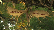 Stock Video Footage of Jackson Hole Antler Sign