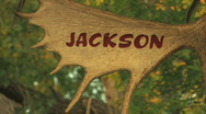 Jackson Hole Wyoming Antler Sign CU Pan Stock Footage