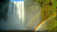 Stock Video Footage of Gulfoss Waterfall Rainbow