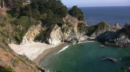 Stock Video Footage of California Coasts Big Sur McWay Fall 09 Panorama Loop