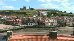 View of Whitby harbor North Yorkshire England Stock Footage