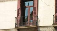 Spanish flag window reflection Stock Footage