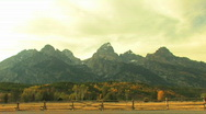 Grand Tetons Zoom In with Fence Stock Footage