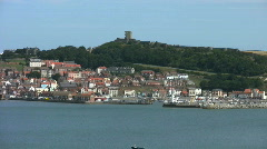 Pan along the south bay from the castle at Scarborough North Yorkshire Stock Footage