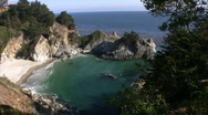 Stock Video Footage of California Coasts Big Sur McWay Fall 11 Panorama Loop