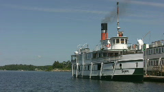 Antique steamship at the dock. Stock Footage