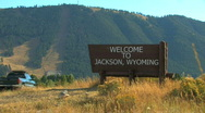 Welcome to Jackson Wyoming Sign Low Angle Stock Footage