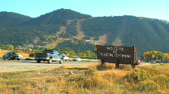 Wooden Welcome to Jackson Wyoming Sign Zoom In Stock Footage