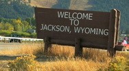 Stock Video Footage of Welcome to Jackson Wyoming Sign